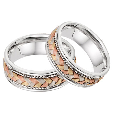 14K Tri-Color Gold Braided Wedding Band Set