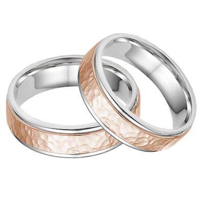 5b3dc285b3d5ad 14K White and Rose Gold Hammered Wedding Band Set