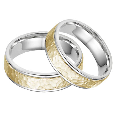 14K Two-Tone Gold Hammered Wedding Band Set