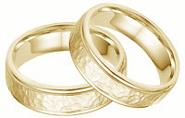 Hammered Wedding Band Set -14K Yellow Gold