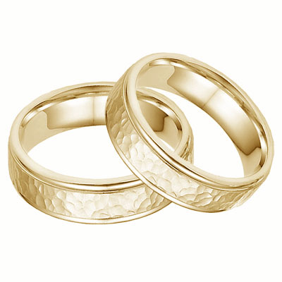 Hammered Wedding Band Set -14K Yellow Gold
