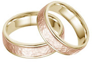 14K Yellow and Rose Gold Hammered Wedding Band Set