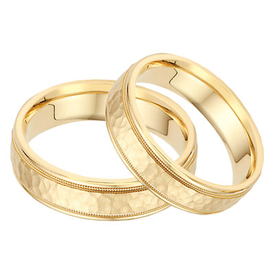 14K Gold Hammered Milgrain Wedding Band Set