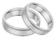 Hammered Milgrain Wedding Band Set in 14K White Gold
