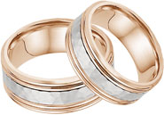 Hammered Double Edged Wedding Band in Set 14K Rose and White Gold