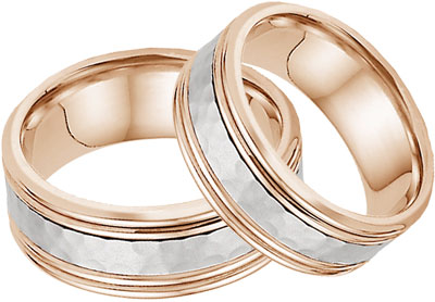 Hammered Double Edged Wedding Band Set in Rose and White Gold