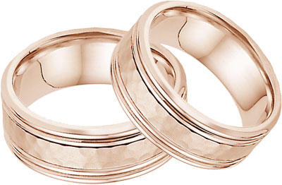 Hammered Double Edged Wedding Band Set in 14K Rose Gold