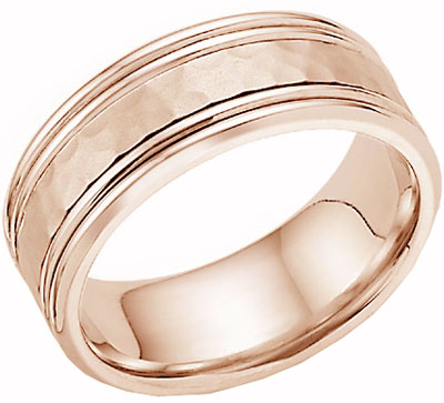 Hammered Double Edged Wedding Band 14K Rose Gold