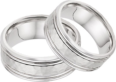 Hammered Double Edged Wedding Band Set in 14K White Gold