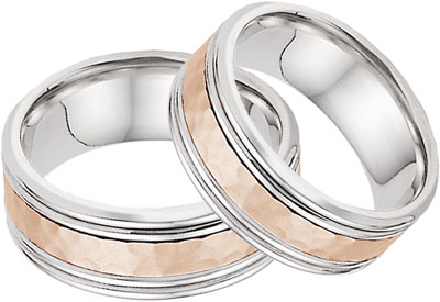 Hammered Double Edged Wedding Band Set in 14K White and Rose Gold