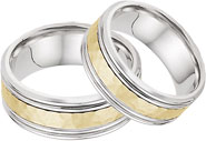 Hammered Double Edged Wedding Band Set in 14K Two Tone Gold