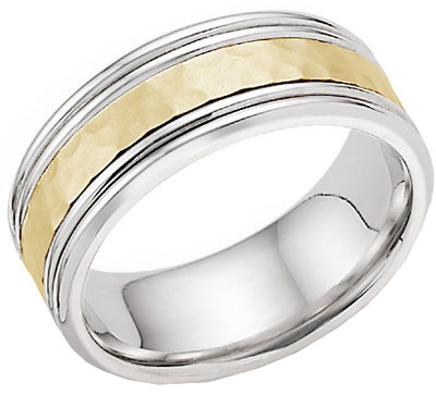 Hammered Double Edged Wedding Band in 14K Two Tone Gold