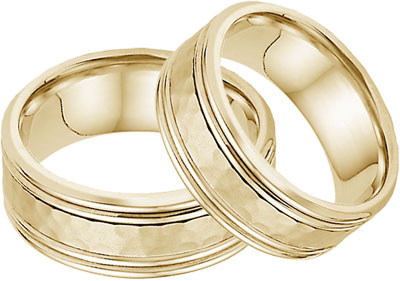 Hammered Double Edged Wedding Band Set in 14K Yellow Gold