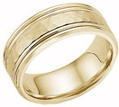 Hammered Double Edged Wedding Band in 14K Yellow Gold