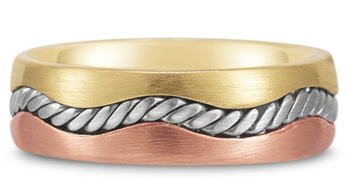 18K Tri-Color Gold Rope Design Wedding Band