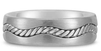 14K White Gold Rope Design Wedding Band
