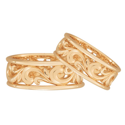 Paisley Carved Wedding Band Set in 14K Rose Gold