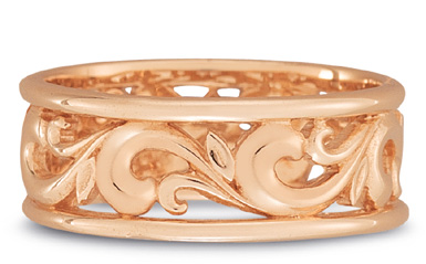 Paisley Carved Wedding Band in 18K Rose Gold