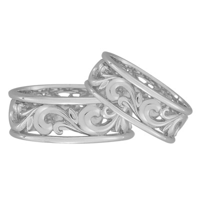 Paisley Carved Wedding Band Set in 14K White Gold