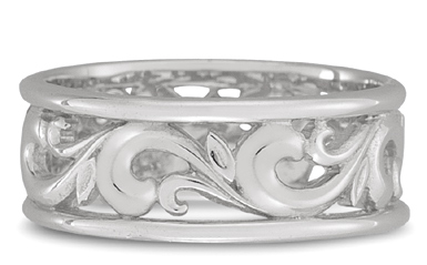 Paisley Carved Wedding Band in 18K White Gold