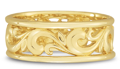 Carved Paisley Wedding Band in 14k Yellow Gold