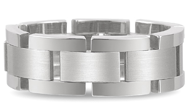 Flexible Designer Wedding Band in 14K White Gold