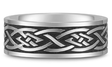Antiqued Celtic Wedding Band in 18K White Gold