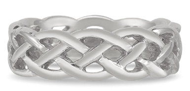 Braided Mesh Celtic Wedding Band in 14K White Gold