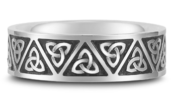 Antiqued Celtic Trinity Knot Wedding Band in 18K White Gold