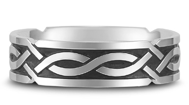 Antiqued Celtic Annan Wedding Band in 18K White Gold