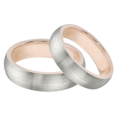 14K White Gold & Rose Gold Wedding Band Set