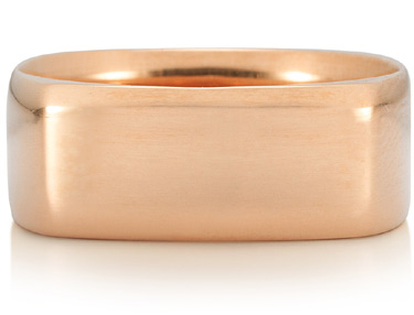 Wide Square Wedding Band in 18K Rose Gold