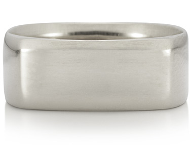 Wide Square Wedding Band in 18K White Gold