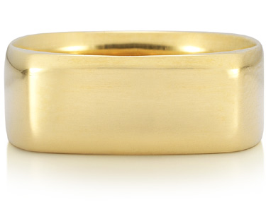 Wide Square Wedding Band in 14K Yellow Gold