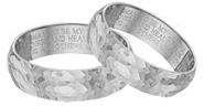 Hammered Wedding Vow Ring Set, 14K White Gold