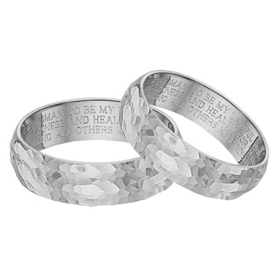 Hammered Wedding Vow Ring Set, 14K White Gold