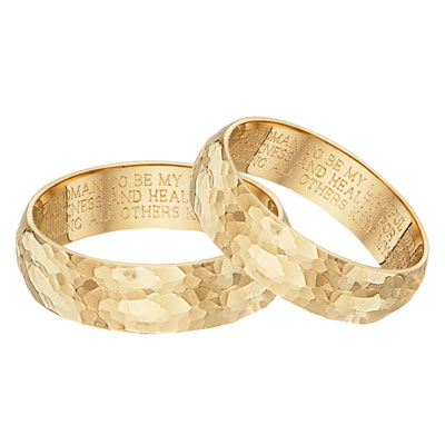 Hammered Wedding Vow Ring Set, 14K Yellow Gold