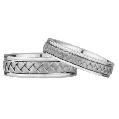 His And Hers Braided Wedding Band Set In 14K White Gold