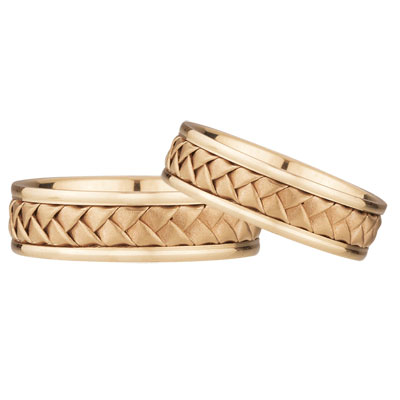 14K Rose Gold Braided Wedding Band Set (6mm)