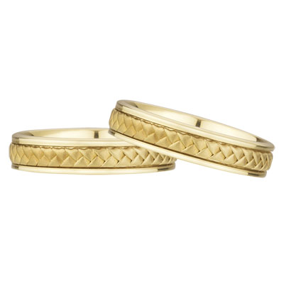 Braided Wedding Band Set, 14K Yellow Gold (5mm)