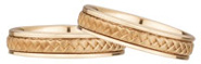 14K Rose Gold Braided Wedding Band Set (5mm)