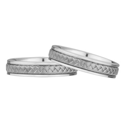 Braided Wedding Band Set, 14K White Gold (5mm)