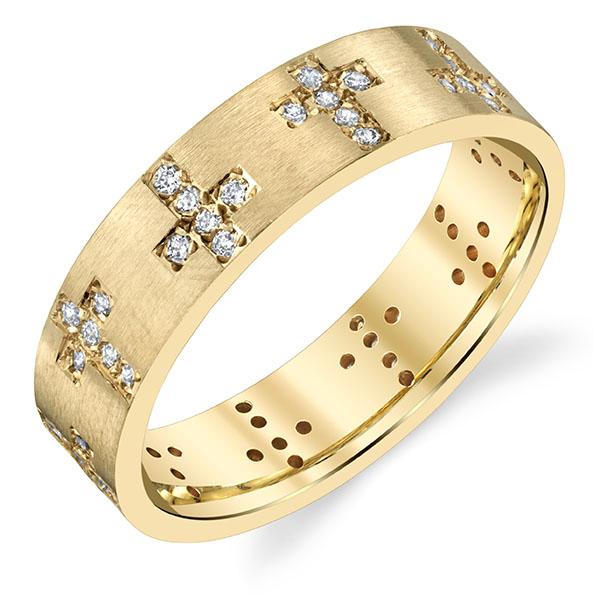 Alternating Diamond Cross Wedding Band Ring, 14K Gold