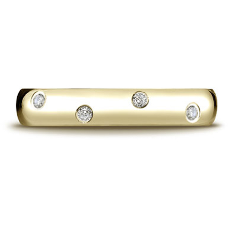 14K Yellow Gold 1/4 Carat 12-Stone Comfort-Fit Diamond Eternity Band Ring