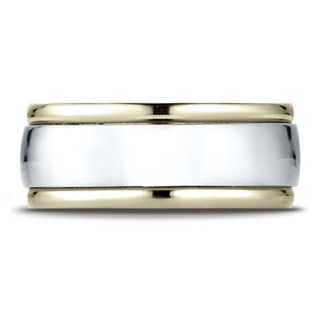 8mm Comfort-Fit High Polished 14K Two-Tone Gold Wedding Band, Benchmark