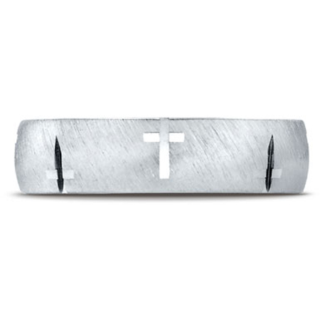 Benchmark Christian Cross Band in 10K White Gold with Satin-Finish