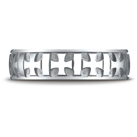 Benchmark 10K White Gold Carved Cross Band