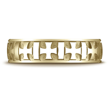 14K Yellow Gold Gaelic Cross Carved Wedding Band