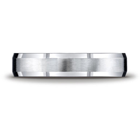 10K White Gold 5mm Comfort-Fit Satin-Finished Beveled Wedding Band Ring
