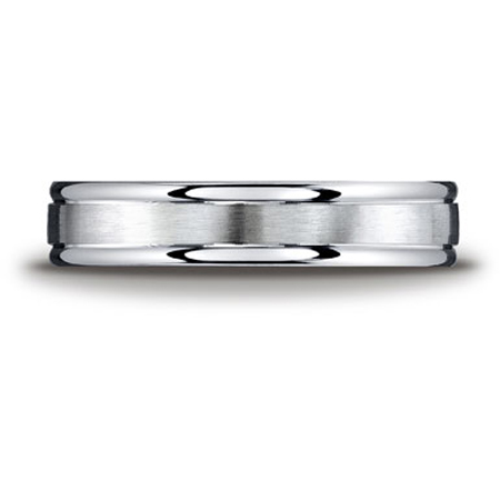 Argentium Silver 7mm Comfort-Fit Satin-Finished High Polished Round Edge Design Band